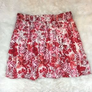 Gap Women's Bright Red Floral A-Line Midi Skirt